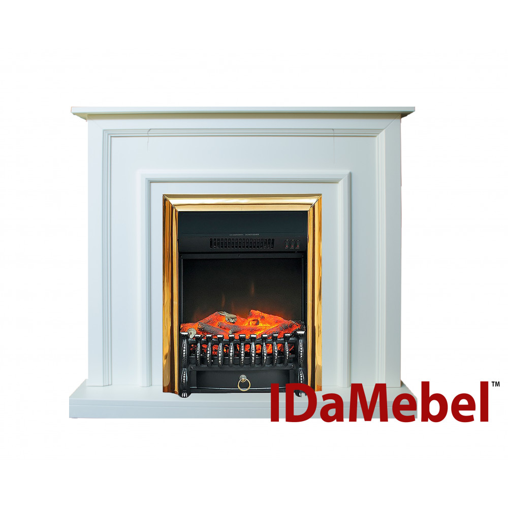 Каминокомплект IDaMebel Adele Белый Fobos Brass - Фото № 1